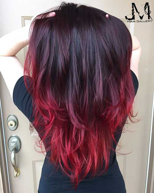Colorful hair tips on brown hair