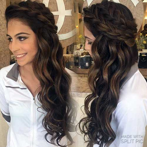 penteado meio solto em cabelo castanho
