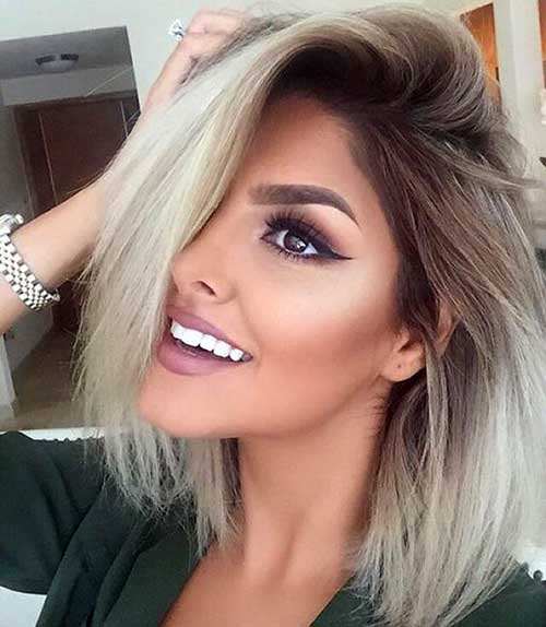 cabelo platinado com raiz escura