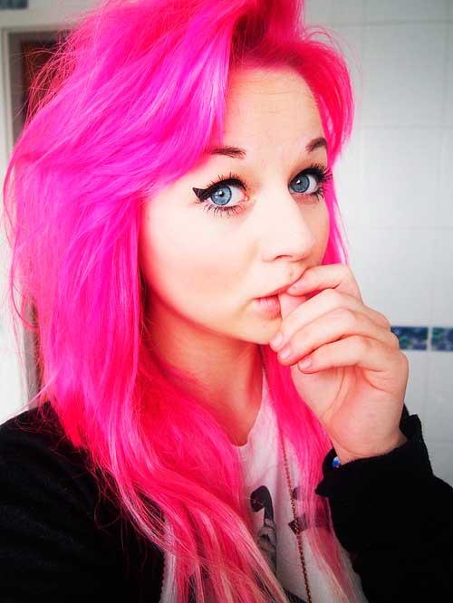 rosa muito forte nos cabelos