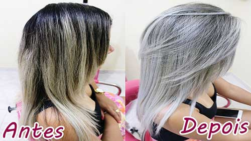 antes e depois de fazer cabelo platinado na touca