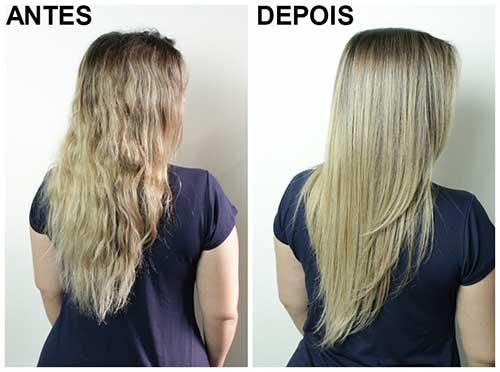 resultado da selagem termica no cabelo rebelde loiro