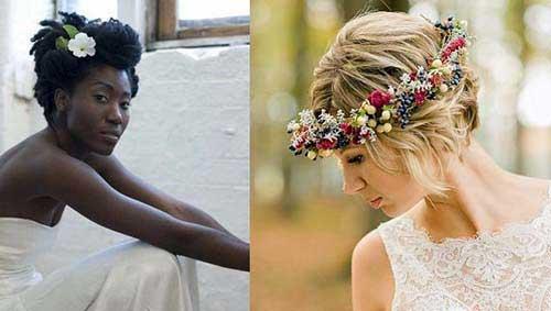 cabelo com coroa de flores em noivas