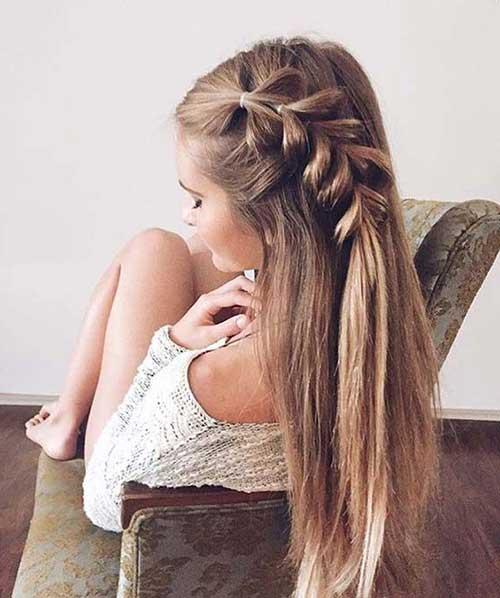cabelos lisos semipresos com trança embutida