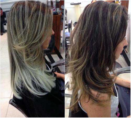 cabelos pretos com luzes lindas