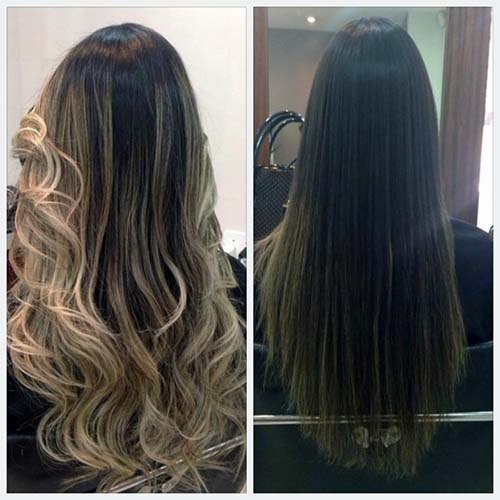 cabelo preto com ombre hair loiro