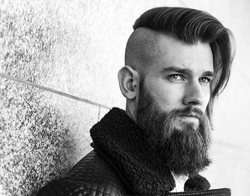 cabelo masculino com franja e barba