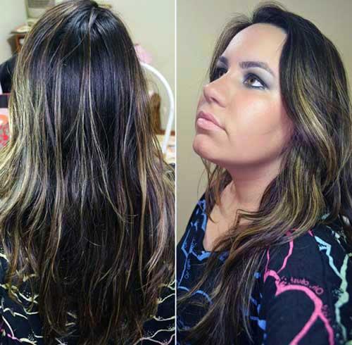 luzes marcadas no cabelo