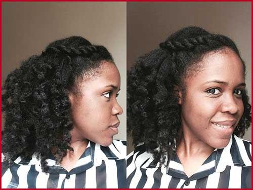 cabelo crespo curto com trança com a franja