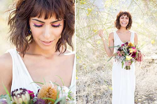 cabelo curto ondulado bonito para noiva