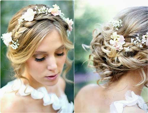 cabelos loiros enfeitados com flores