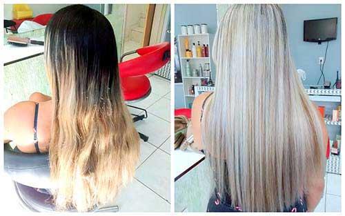 antes e depois de fazer luzes platinadas em cabelo escuro