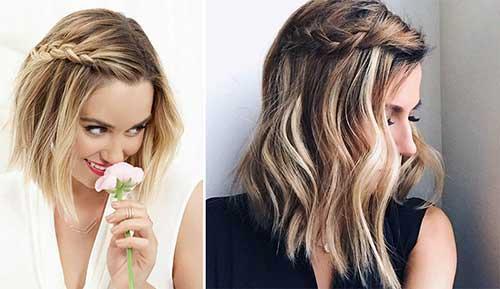 cabelos com tranças e franja