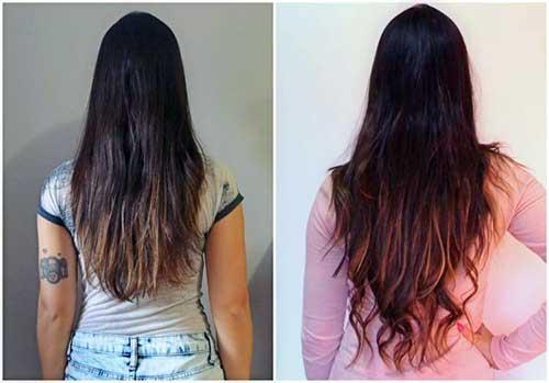 antes e depois em cabelos femininos