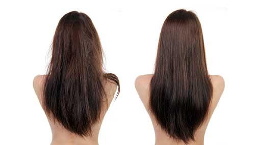antes e depois de tratar cabelos desgastados por química em excesso