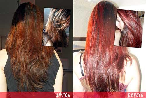 antes e depois em cabelo vermelho