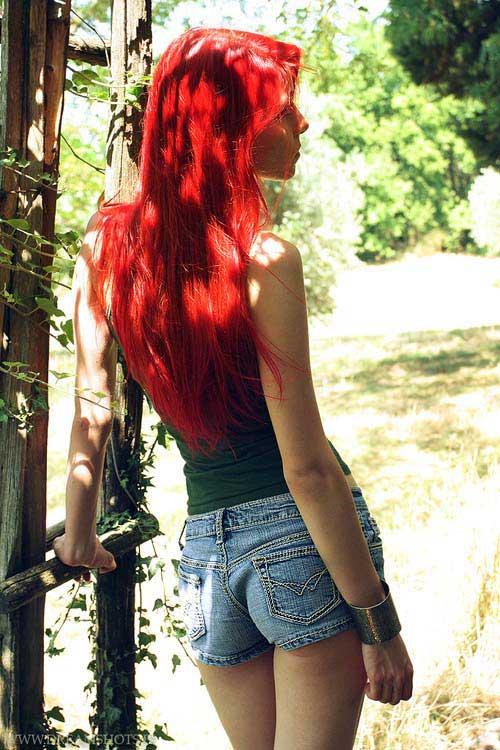 cabelo cor intensa vermelha