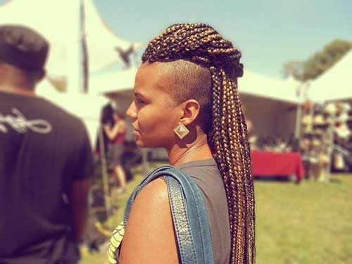 moicano feminino com box braids
