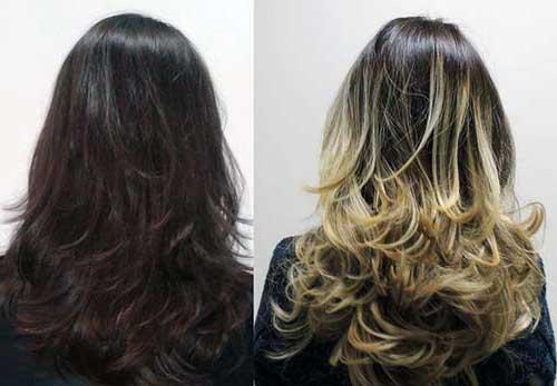 cabelos com ombre hair bonitos repicados pra fora
