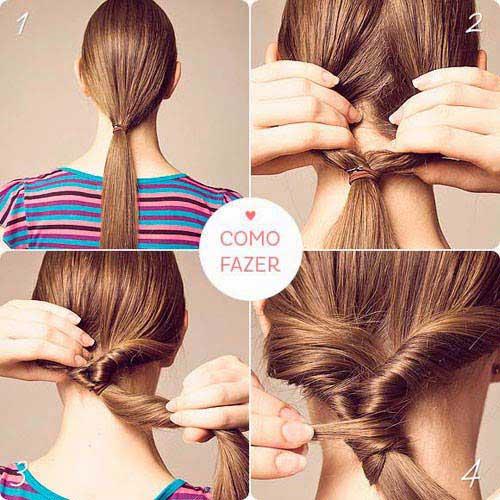 cabelo com passos para usar na escola