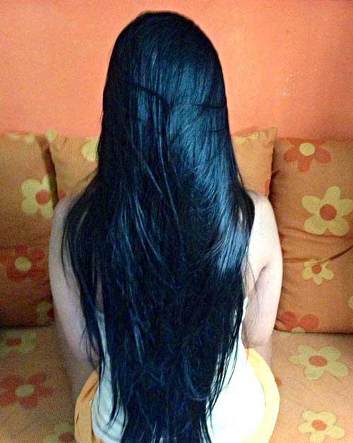 cabelo preto azulado com banho
