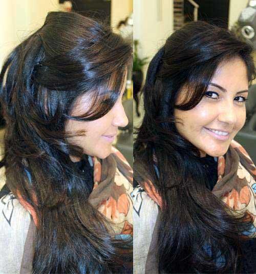 cabelo com franja romantica