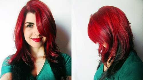 cabelos vermelhos com pontas pretas