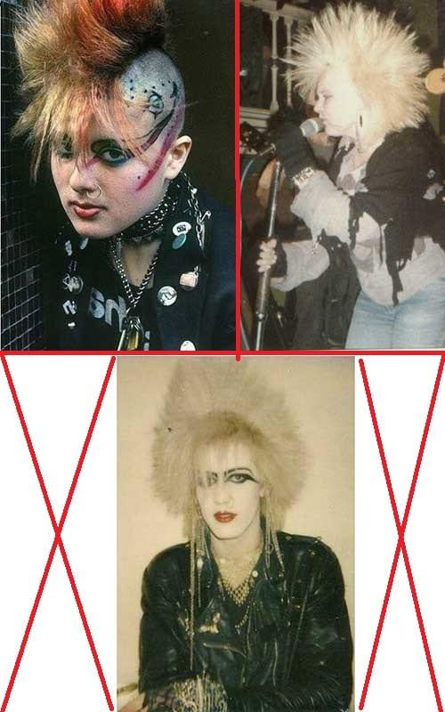 cabelos punk nos anos 1980 em homens e mulheres