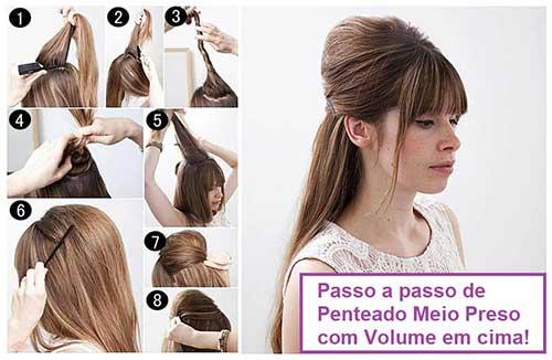 tutorial cabelo meio preso com volume em cima
