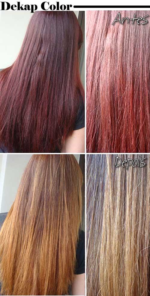 resultados em cabelo castanho e ruivo