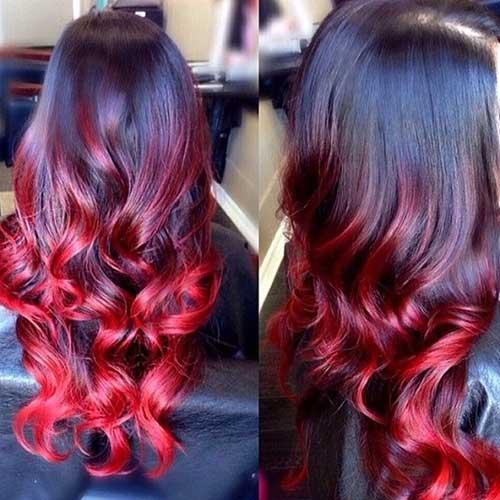 ombre hair vermelho escuro intenso