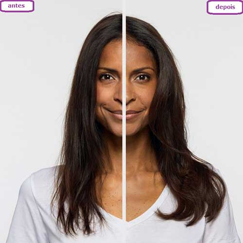 antes e depois de resolver o excesso de porosidade no cabelo liso