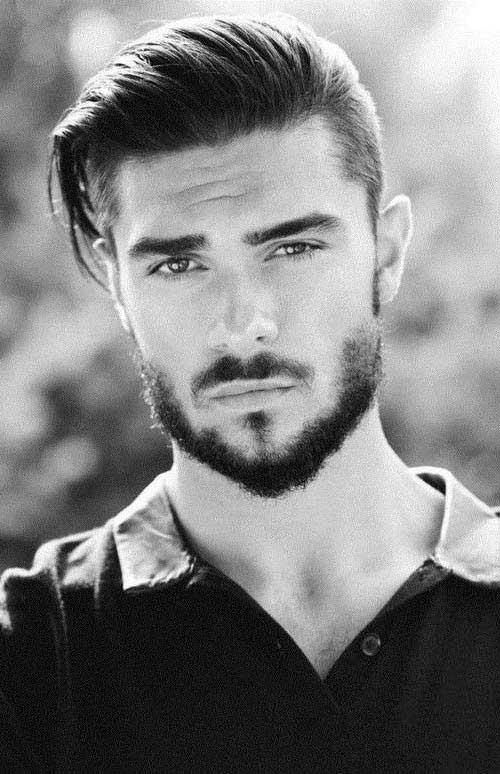 cabelo raspado com barba e franja