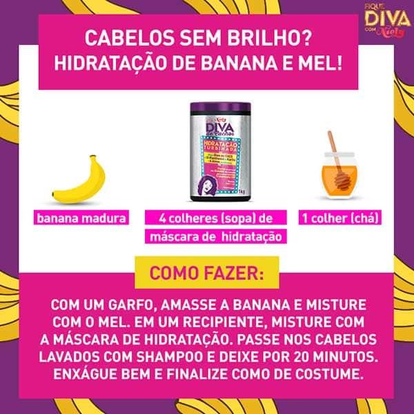 hidratação caseira com banana, mel e máscara hidratante