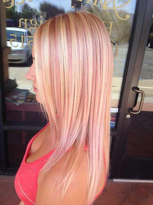 loiro com mechas rosa pink