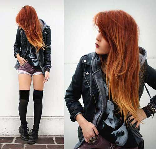 cabelos loiros com mechas vermelhas