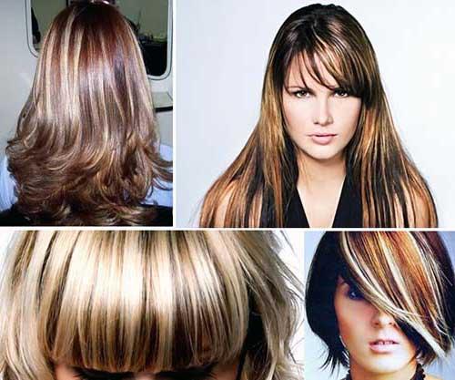cabelo marrom com mechas invertidas