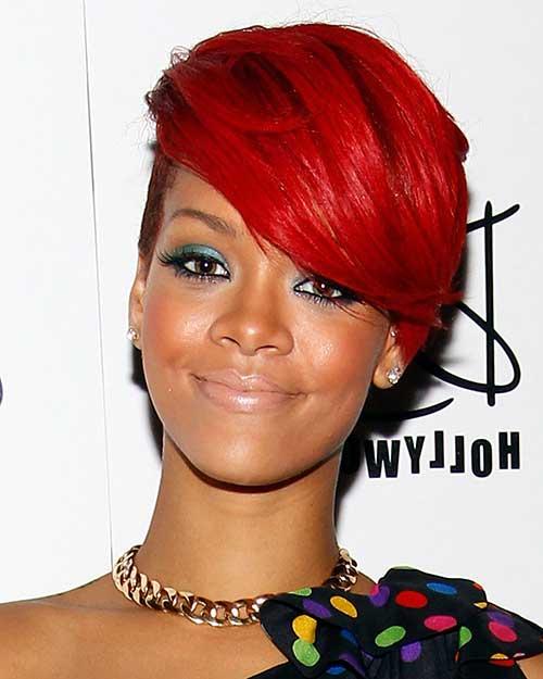 cabelo curto vermelho da rihanna