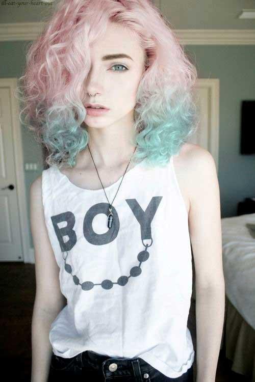 cabelo rosa e azul turquesa