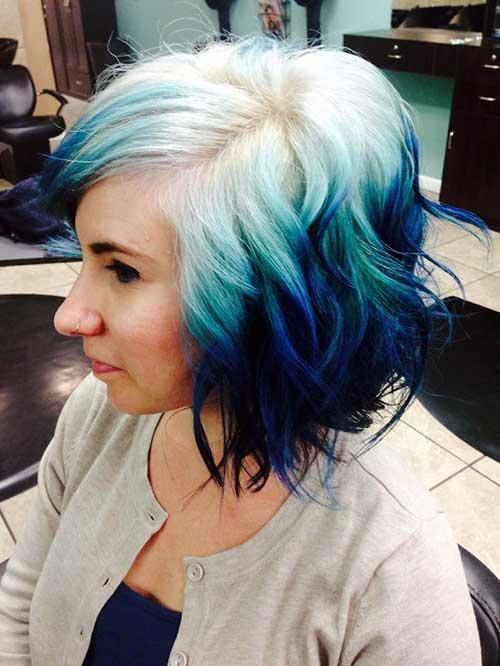 mechas ombre hair curtas azul