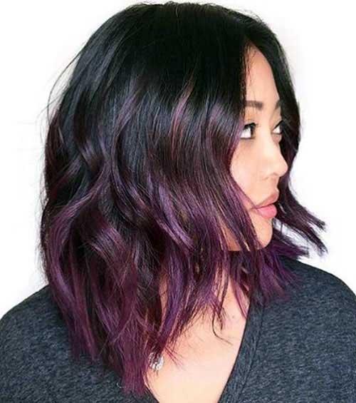 ombre hair em cabelo pequeno colorido de roxo e preto