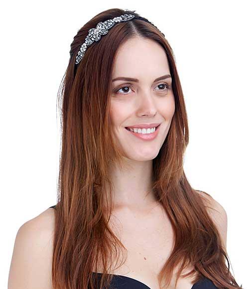 penteado solto com tiara