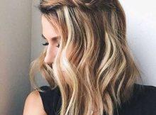 trança para cabelo medio com penteado de franja