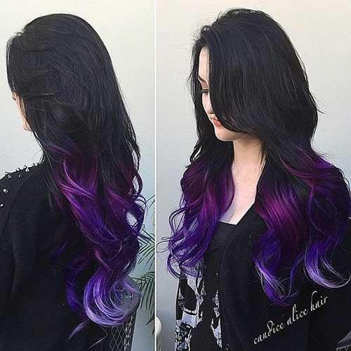 cabelo preto com ponta roxa