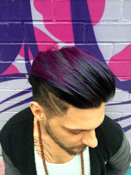 cabelo preto e roxo no homem