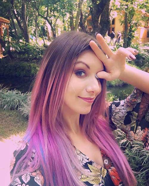 cabelo roxo e rosa da marimoon