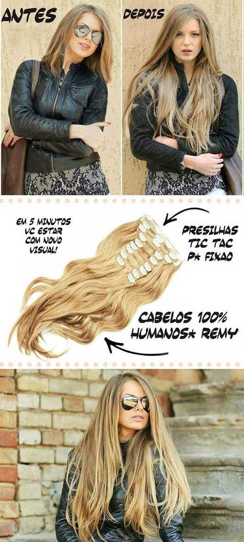 aplique de cabelo tic tac ou de fita adesiva