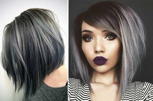 cabelos pretos com mecha cinza