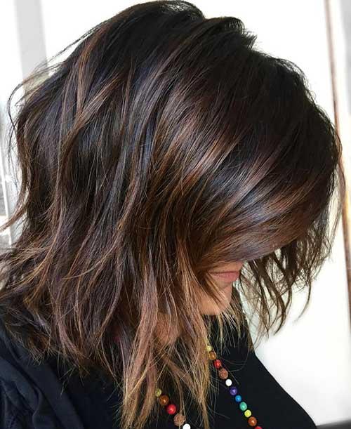 cabelo escuro com luzes chocolate