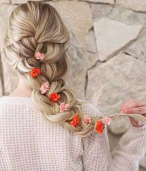 trança francesa com flores